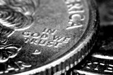 "Macro of US Quarters focused in on ""In God We Trust"""