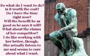 Picture of The Thinker sculpted by Auguste Rodin with questions he's thinking about from a closing question