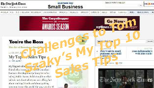 Title added to Image from screen shot of Tom Szaky's My Top 10 Sales Tips on NY Times online