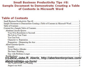 Screen shot of document for Small Business Productivity Tip #8 - Example of a Table of Contents