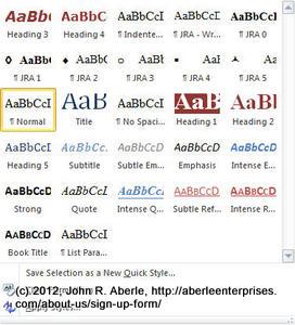Screeenshot of the Styles dropdown window in Microsoft Word