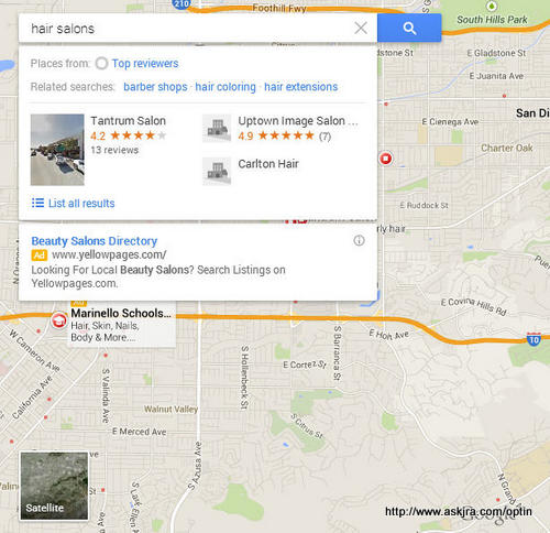 """Google map results for Covina area hair salons to illustrate """"Why Is Google+ Important for Small Businesses?"""""""