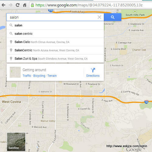 """Google map results for Covina area salons to illustrate """"Why Is Google+ Important for Small Businesses?"""""""