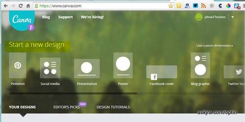 Screenshot of Canva screen to start a new design