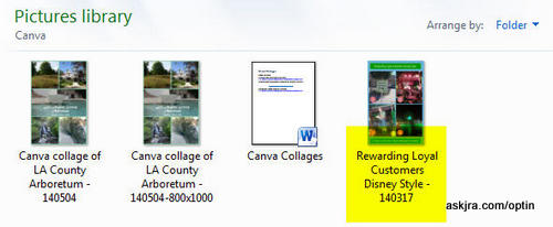 Screenshot of Step 17 - saved collages on John R. Aberle's hard drive