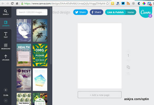 Screenshot of Canva screen for step 2 – choose type of layout