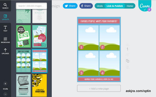 Screenshot of Canva screen for Step 3 – choose blog graphic layout