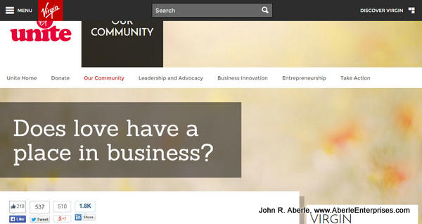 "1st screen capture from Virgin Unite article ""Does love have a place in business?"""