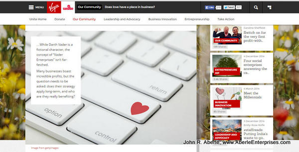 "2md screen capture from Virgin Unite article ""Does love have a place in business?"""