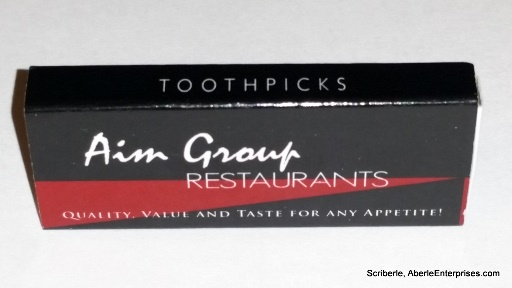 Picture of Aim Restaurant Group's toothpick giveaway from Claremont Restaurant Week 2015 Chamber Mixer and Media Preview event