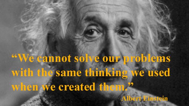 Albert-Einstein meme using public domain photo plus quote about Same Thinking