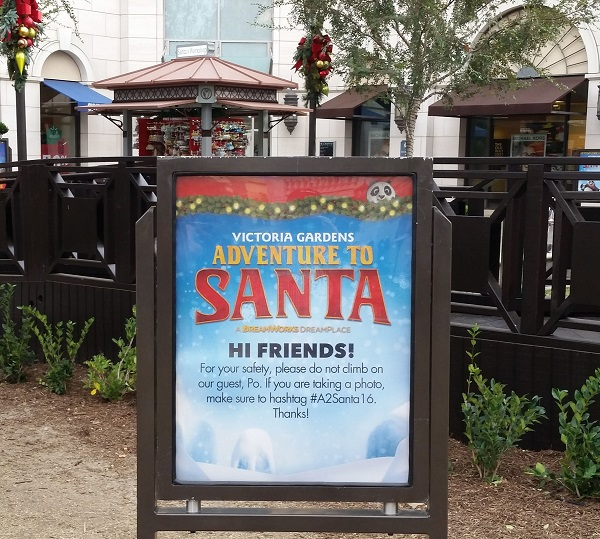 Picture of poster at Victoria Gardens advertising a Santa Adventure with Kung Fu Panda