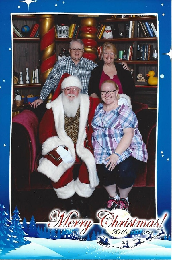Picture of John & Dorothy Aberle & Stephanie Doherty with Santa at Victoria Gardens, Rancho Cucamonga