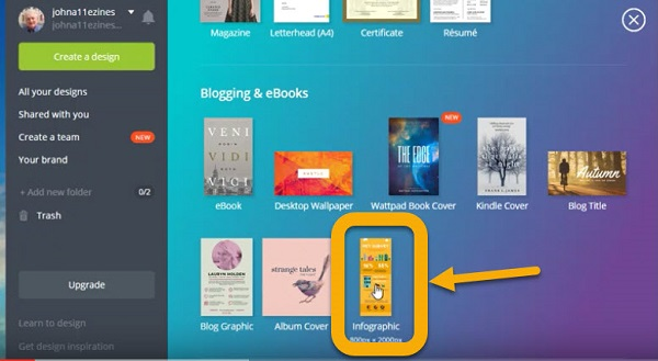 """Screen shot of designing the """"Planning Your Marketing – SWOTT"""" infographic on Canva"""