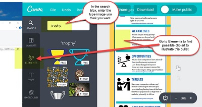 """Screen shot of designing the """"Planning Your Marketing – SWOTT"""" infographic on Canva-6"""