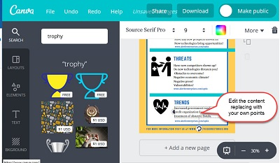 """Screen shot of designing the """"Planning Your Marketing – SWOTT"""" infographic on Canva-7"""