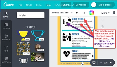 """Screen shot of designing the """"Planning Your Marketing – SWOTT"""" infographic on Canva-8"""