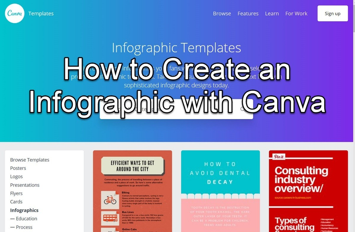 "Screen capture of the infographic template screen on Canva for an article on ""How to Create an Infographic with Canva"""