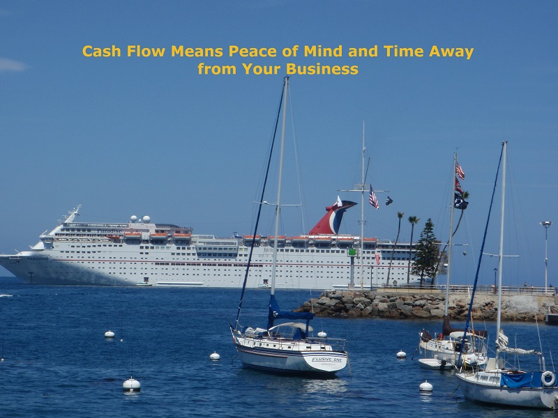 "Picture of the Carnival Paradise from Avalon on Catalina to illustrate how ""TCash Flow Means Peace of Mind and Time Away from Your Business"""