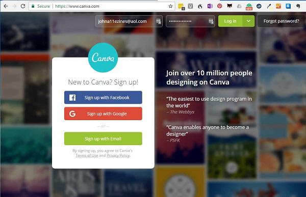 Screen capture of Canva.com sign up screen