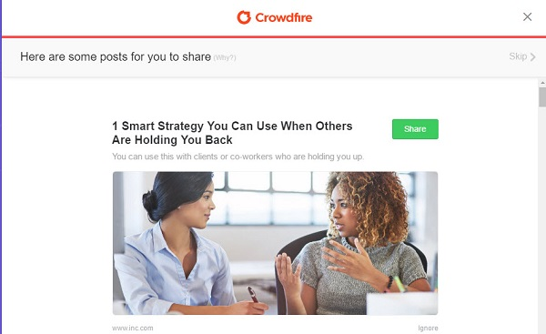 Screen capture of Crowdfire suggested topic to share on social media