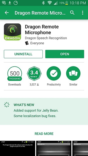 Screen capture of Dragon Remote Microphone on Google Play Store