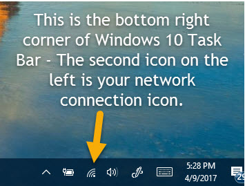Screen capture of the Icon for your network connections