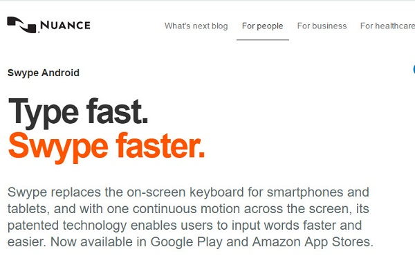 Screen capture of Nuance's webpage on Swipe for Android