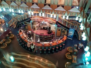 Picture John R. Aberle shot of the Atrium Lobby Bar  on the Carnival Miracle viewed from the Glass Elevator