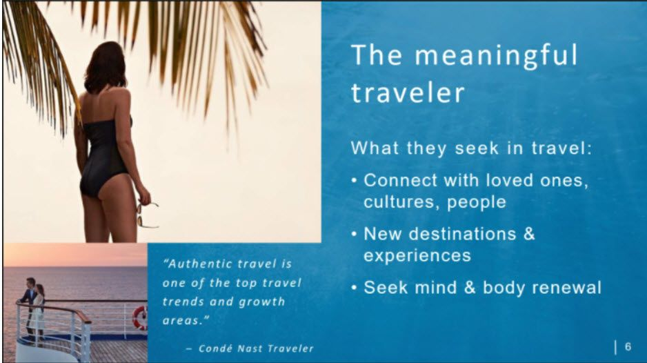 "Presentation slide of Princess Cruises' ""The Meaningful Traveler"""