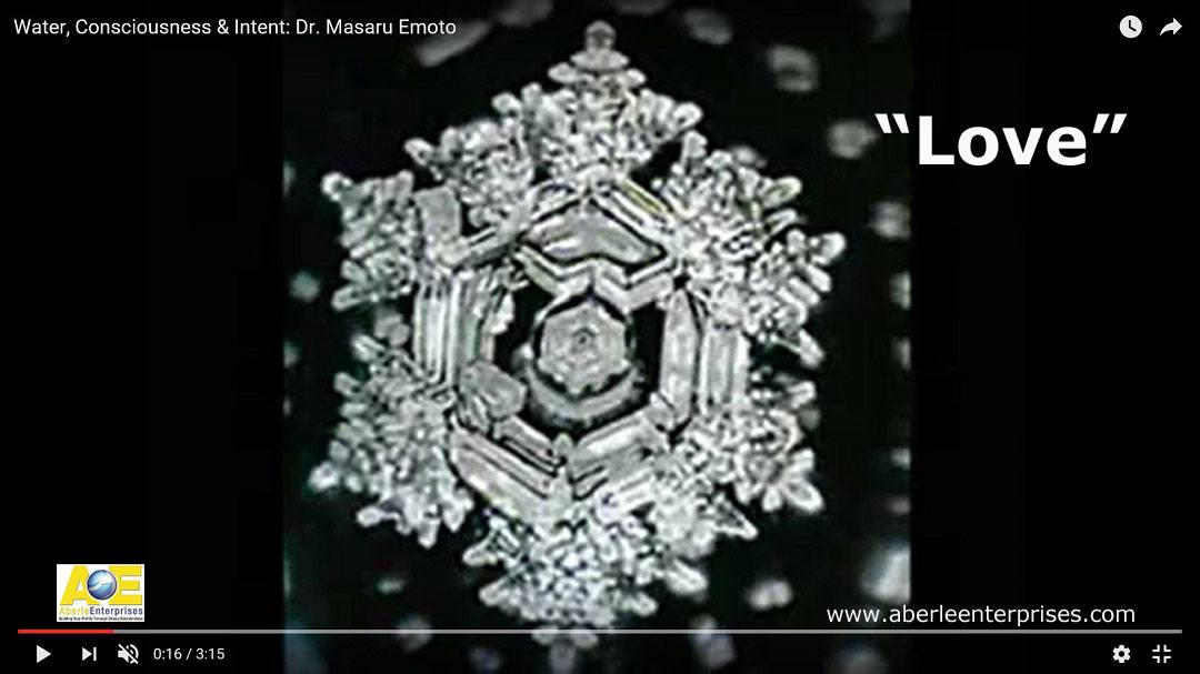 Screen capture of Dr. Masaru Emoto's photo of the water crystal for love with Aberle Enterprises logo and URL