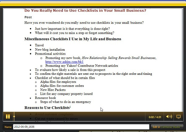 Screenshot of Jing Video for Small Business Productivity Tips about Checklists