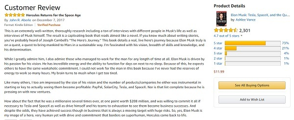 Screen Capture of John R. Aberle's Review on Amazon of Elon Musk biography