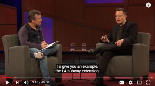 "Screen capture of Chris Anderson of TED interviewing Elon Musk on ""The future we're building -- and boring"""