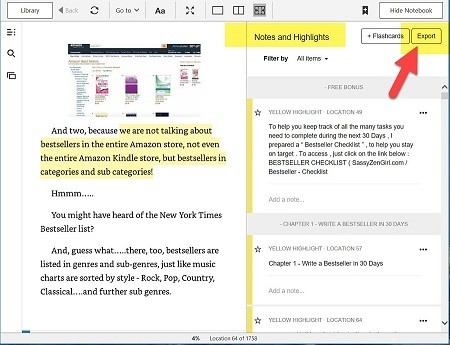 Annotated Kindle PC App screen capture with Flashcards-Export Choices