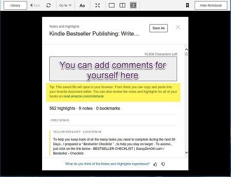 Annotated Kindle PC App screen capture with Export options