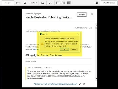 Annotated Kindle PC App screen capture with Export limits