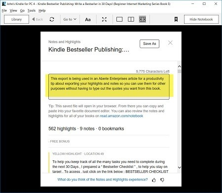 Screen capture of Highlighted Kindle PC App - Export note added